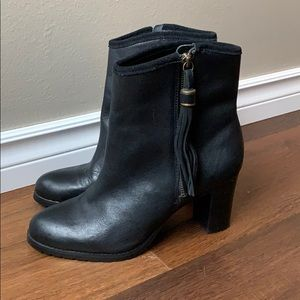 Ralph Lauren Leather Tassel Ankle Heeled Boots